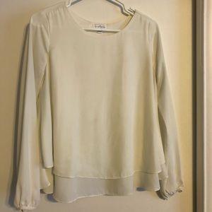 Long-Sleeve Cream Blouse